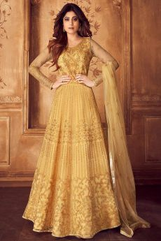 Golden Yellow and Gold Embroidered Anarkali Set
