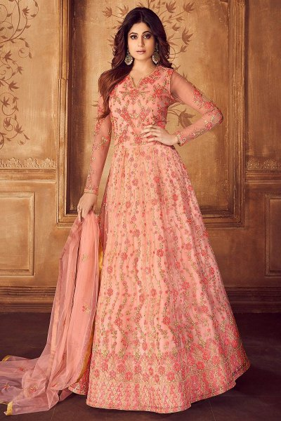 Peach and Gold Embroidered Anarkali Set