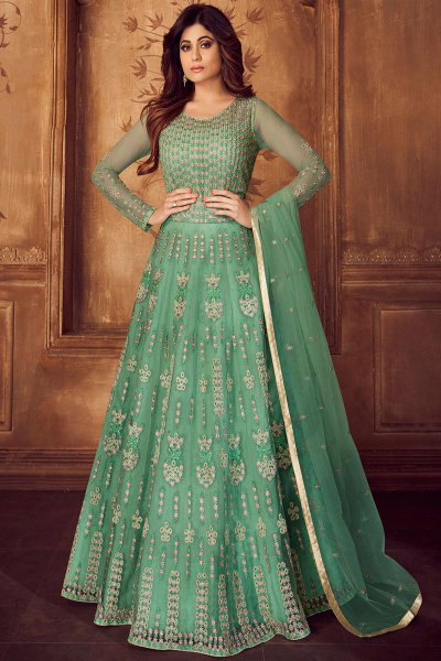 Designer Turquoise Embroidered Anarkali Set