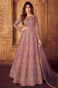 Light Purple and Gold Embroidered Anarkali Set