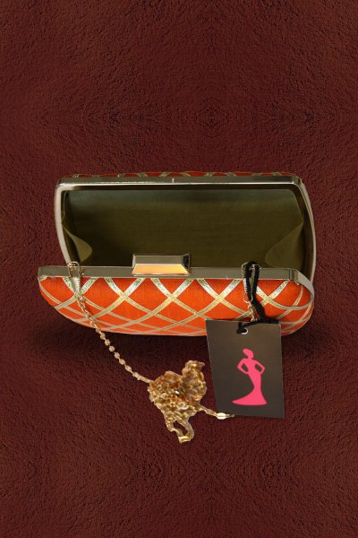 Orange Lace Work Clutch