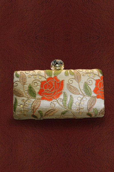 Taupe Embroidered Clutch
