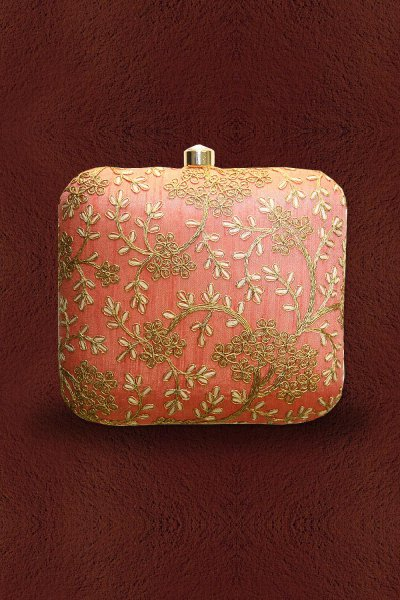 Peach & Brown Embroidered Clutch