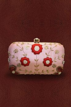 Floral Hand Embroidered Clutch with Bead Work