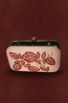 Pink Hand Embroidered Clutch with Bead Work