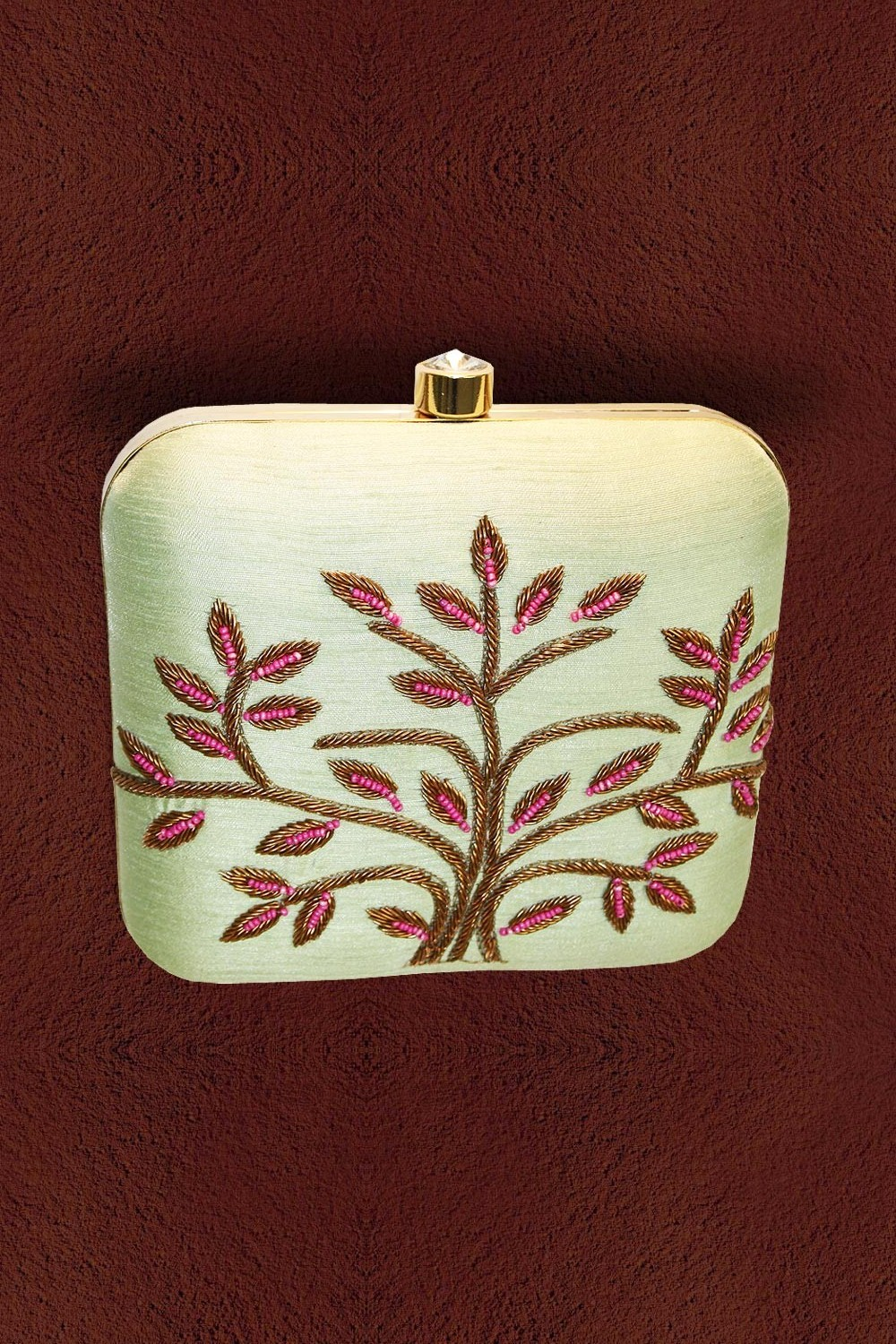 Pistachio Embroidered Clutch