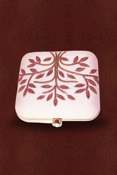 Baby Pink Embroidered Clutch