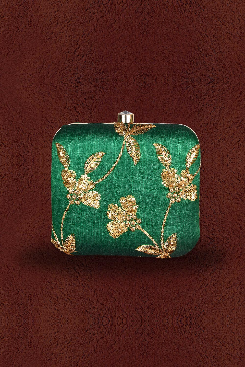 Green Sequin Embroidered Clutch