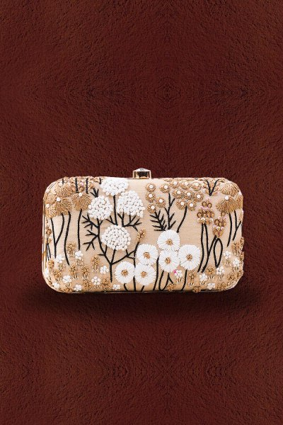 Beige Floral Embroidered Clutch