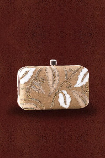Beige Hand Embroidered Clutch