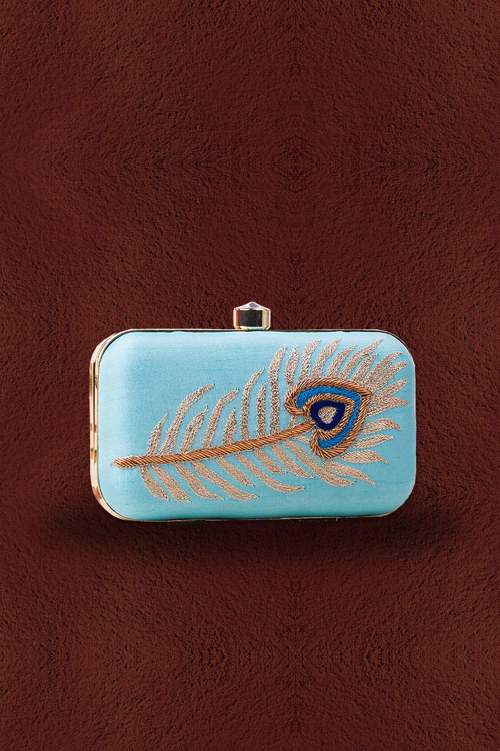 Blue Peacock Feather Embroidered Clutch