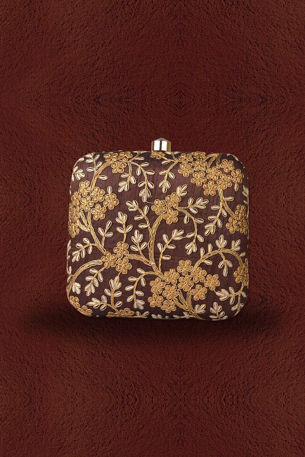 Coffee Brown Embroidered Clutch