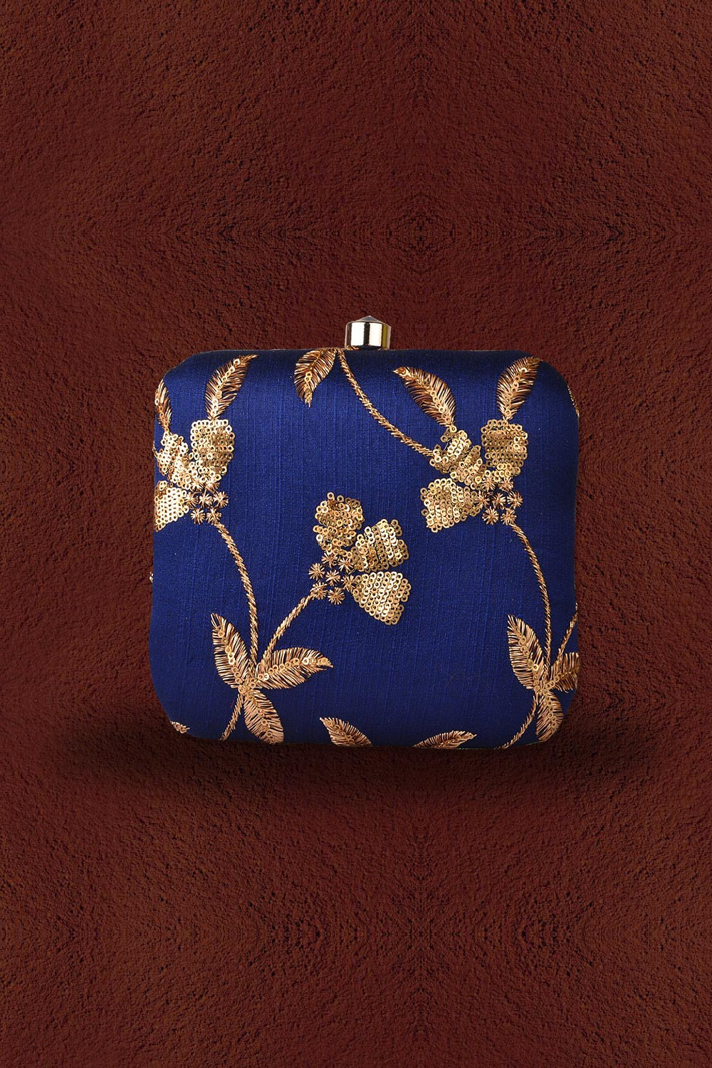 Royal Blue Sequin Embroidered Clutch
