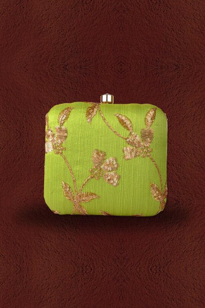Light Green Sequin Hand Embroidered Clutch