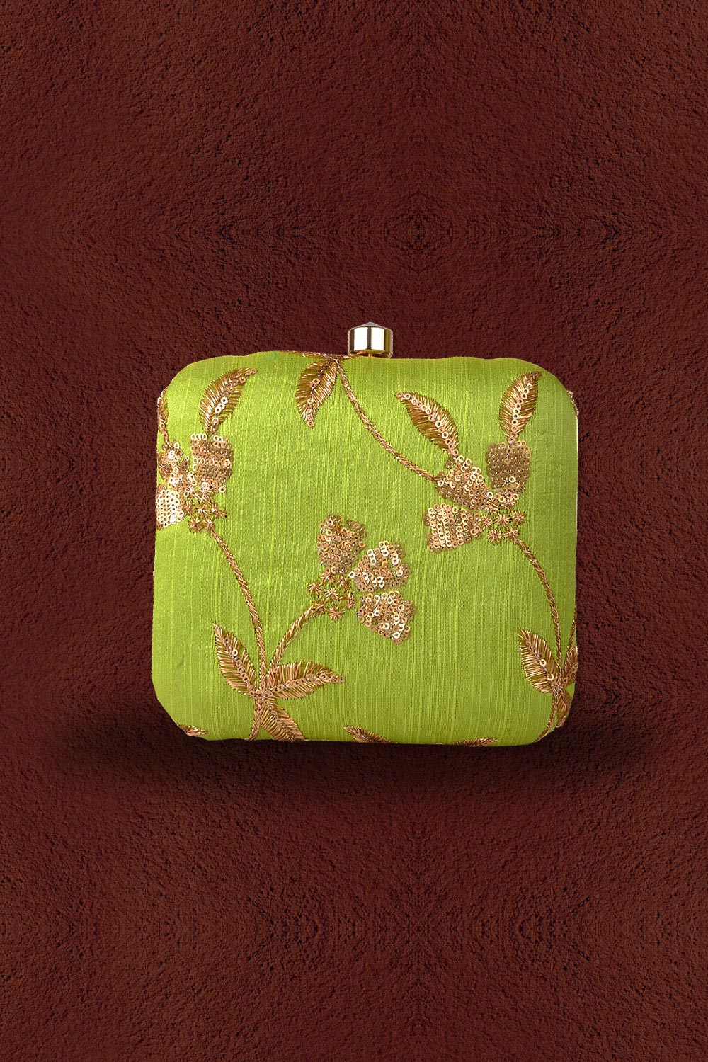 Light Green Sequin Embroidered Clutch