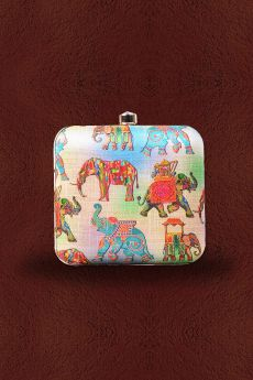 Multicolored Elephant Printed Clutch