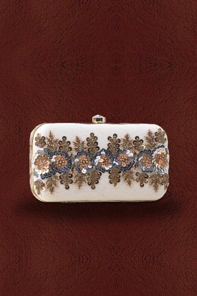 Off White Sequin Hand Work Clutch
