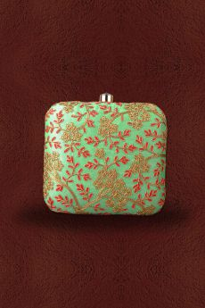 Pistachio & Red Embroidered Clutch