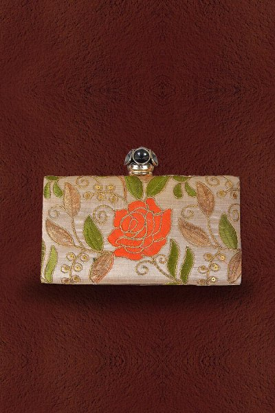 Taupe Hand Embroidered Clutch