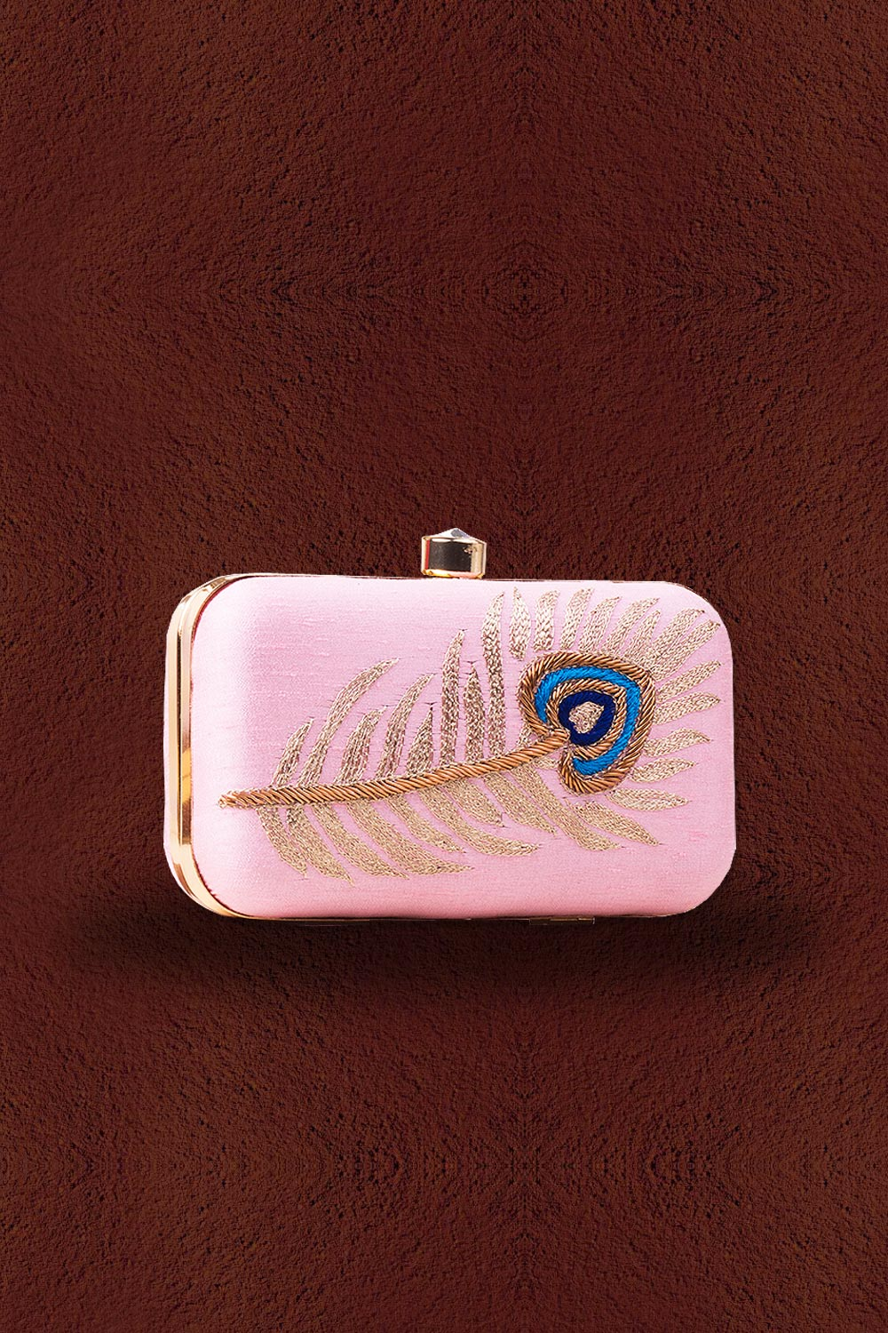 Pink Peacock Feather Embroidered Clutch