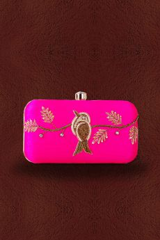 Magenta Zardozi Hand Embroidered Clutch