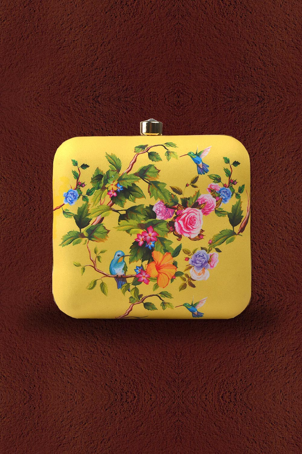 Yellow Floral Printed Clutch