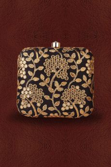 Black & Golden Embroidered Clutch