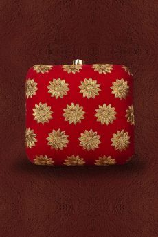 Floral Zari Hand Embroidered Clutch in Velvet