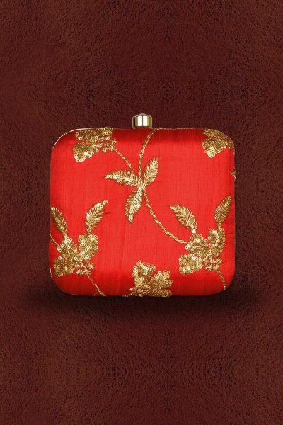 Red Sequin Embroidered Clutch