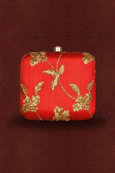 Red Sequin Hand Embroidered Clutch