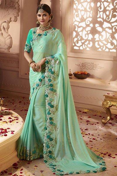 Light Turquoise Silk Saree