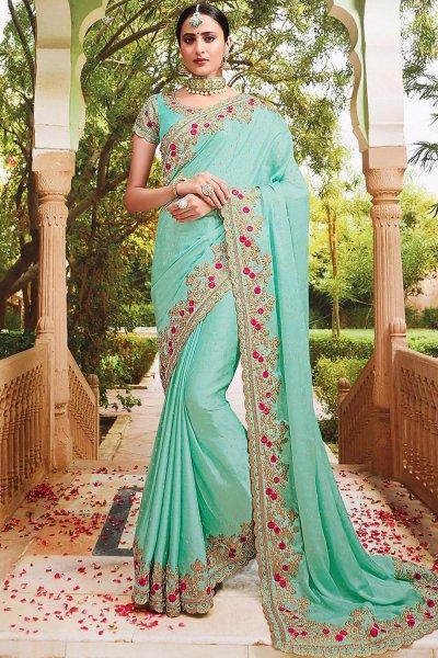 Sea Green Embroidered Silk Saree