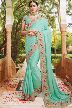 Sea Green Embroidered Silk Saree