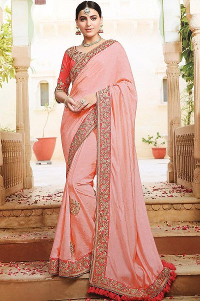 Peach Floral Stone Embellished Saree