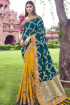 Mustard and Teal Banarasi Silk Embroidered Saree