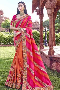 Orange and Pink Embroidered Silk Saree