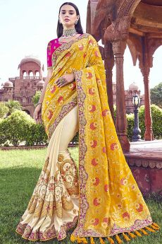 Off-White and Yellow Embroidered Silk Saree