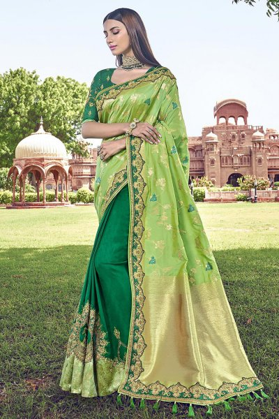 Green Embroidered Banarasi Silk Saree