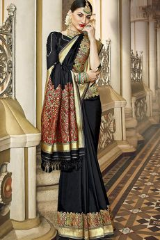 Designer Black Banarasi Silk Saree