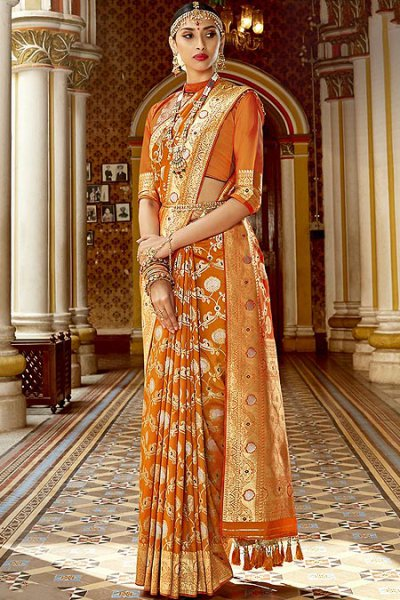Designer Mustard Banarasi Silk Saree