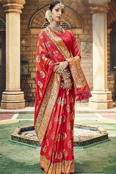 Bright Red Banarasi Silk Saree