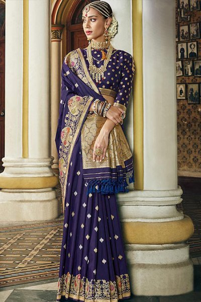 Designer Navy Blue Banarasi Silk Saree