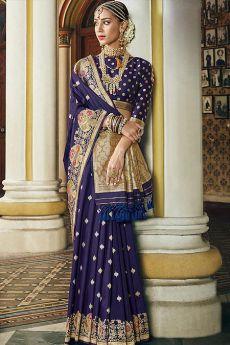 Designer Navy Blue Banarasi Silk Saree
