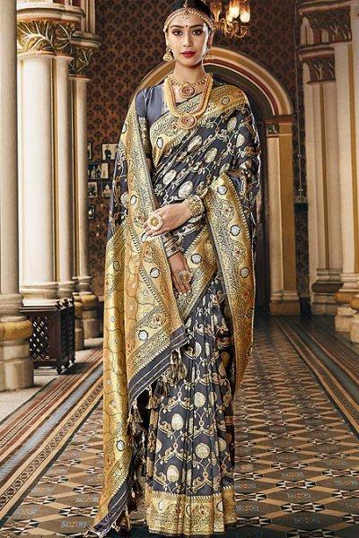 Designer Silver Grey Banarasi Silk Saree