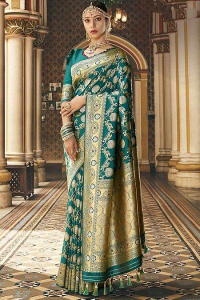 Designer Teal Banarasi Silk Saree