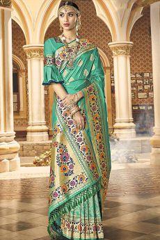 Designer Turquoise Banarasi Silk Saree