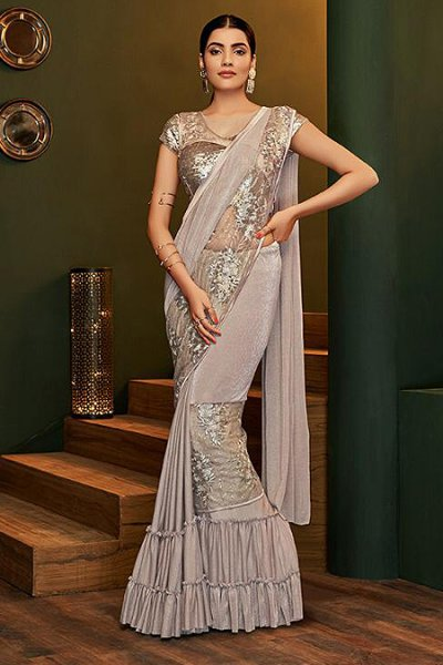 Taupe Lycra Ready to Wear Ruffle Saree