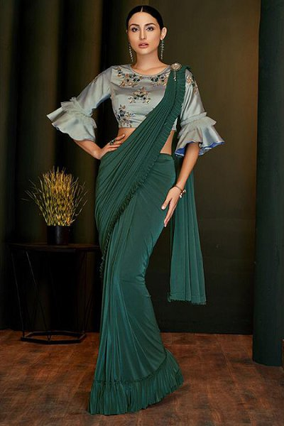 Green Ready to Wear Ruffle Saree