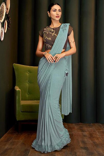 Steel Blue Lycra Ready to Wear Ruffle Saree