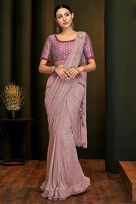 Dusky Pink Ready to Wear Ruffle Saree